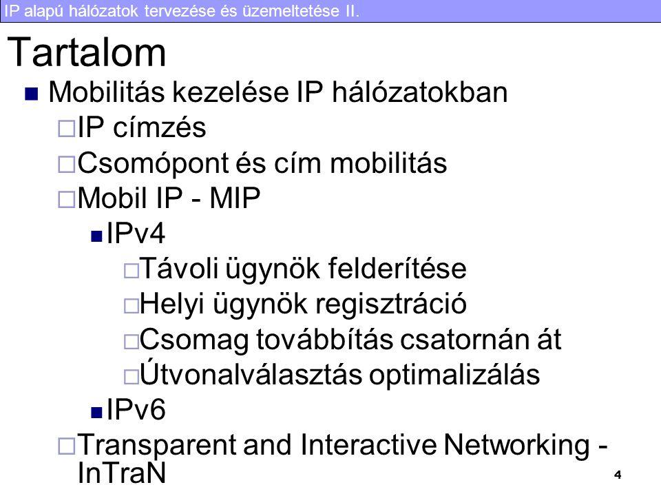 IP alapú hálózatok tervezése és üzemeltetése II. 4 Tartalom Mobilitás kezelése IP hálózatokban  IP címzés  Csomópont és cím mobilitás  Mobil IP - M