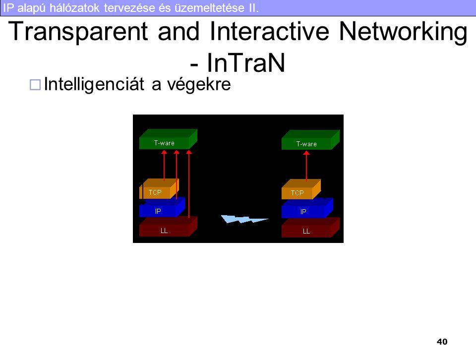 IP alapú hálózatok tervezése és üzemeltetése II. 40 Transparent and Interactive Networking - InTraN  Intelligenciát a végekre