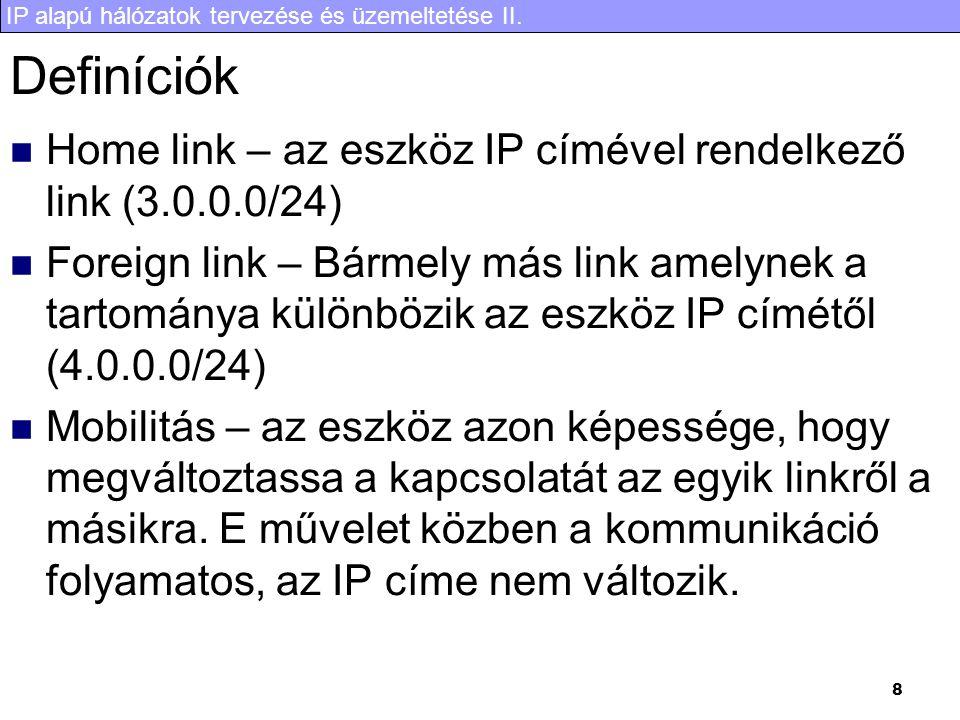 IP alapú hálózatok tervezése és üzemeltetése II. 8 Definíciók Home link – az eszköz IP címével rendelkező link (3.0.0.0/24) Foreign link – Bármely más
