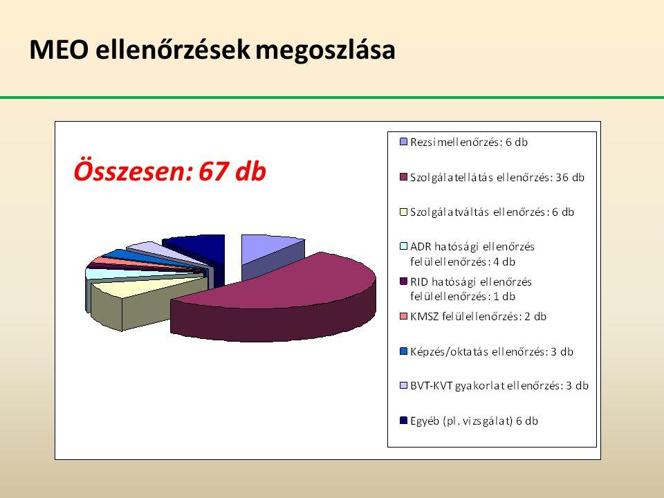 MEO ellenőrzések megoszlása Összesen: 67 db