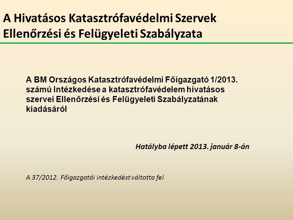 A Hivatásos Katasztrófavédelmi Szervek Ellenőrzési és Felügyeleti Szabályzata A BM Országos Katasztrófavédelmi Főigazgató 1/2013. számú Intézkedése a