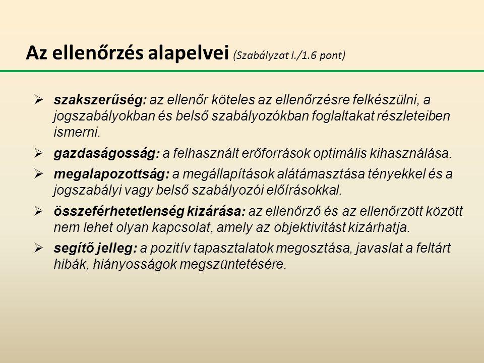 Az ellenőrzés alapelvei (Szabályzat I./1.6 pont)  szakszerűség: az ellenőr köteles az ellenőrzésre felkészülni, a jogszabályokban és belső szabályozó