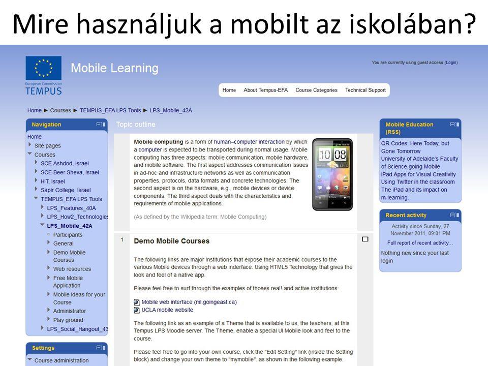 Mire használjuk a mobilt az iskolában?
