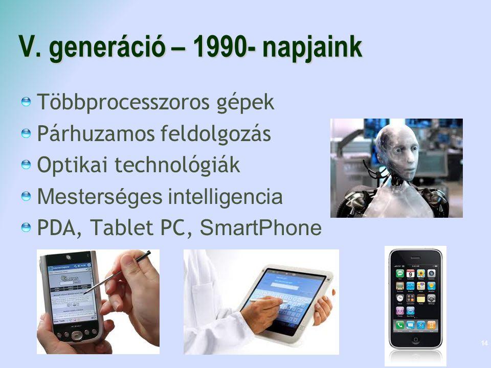 V. generáció – 1990- napjaink Többprocesszoros gépek Párhuzamos feldolgozás Optikai technológiák Mesterséges intelligencia PDA, Tablet PC, SmartPhone