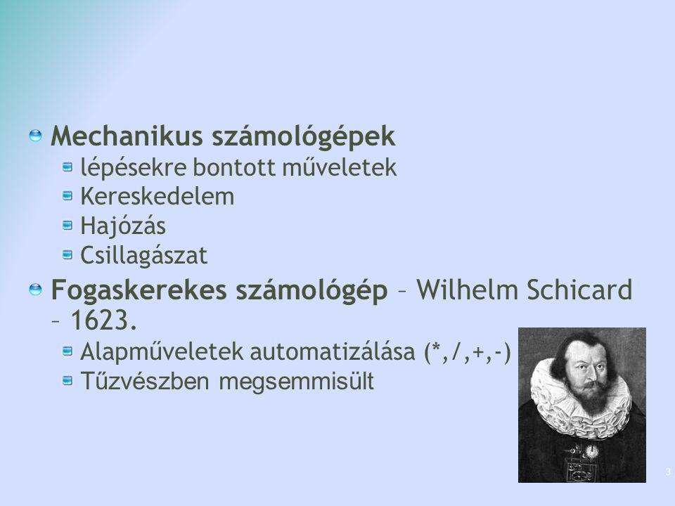 Mechanikus számológépek lépésekre bontott műveletek Kereskedelem Hajózás Csillagászat Fogaskerekes számológép – Wilhelm Schicard – 1623. Alapműveletek