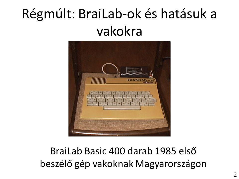 Régmúlt: BraiLab-ok és hatásuk a vakokra BraiLab Basic 400 darab 1985 első beszélő gép vakoknak Magyarországon 2