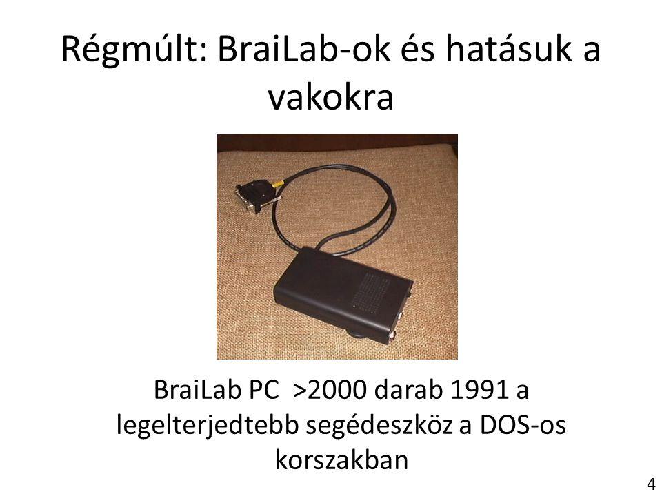 Régmúlt: BraiLab-ok és hatásuk a vakokra BraiLab PC >2000 darab 1991 a legelterjedtebb segédeszköz a DOS-os korszakban 4