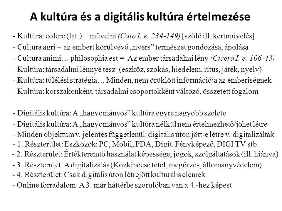 A kultúra és a digitális kultúra értelmezése - Kultúra: colere (lat.) = művelni (Cato I. e. 234-149) [szőlő ill. kertművelés] - Cultura agri = az embe