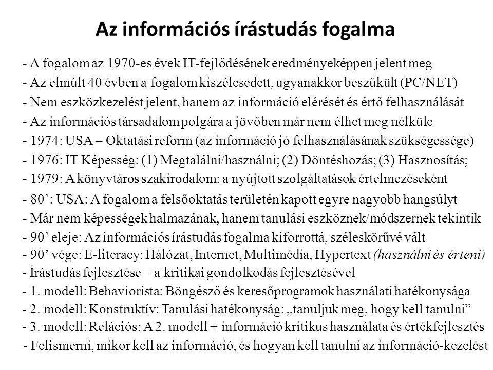 Az információs írástudás fogalma - A fogalom az 1970-es évek IT-fejlődésének eredményeképpen jelent meg - Az elmúlt 40 évben a fogalom kiszélesedett,