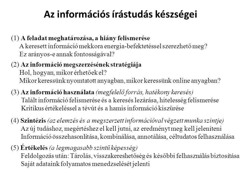 Az információs írástudás készségei (1) A feladat meghatározása, a hiány felismerése A keresett információ mekkora energia-befektetéssel szerezhető meg