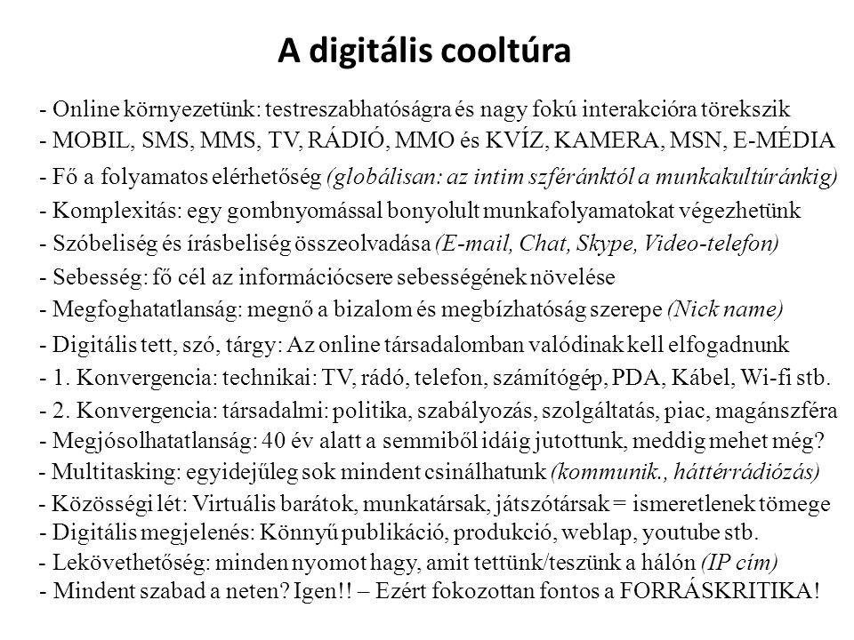 A digitális cooltúra - Online környezetünk: testreszabhatóságra és nagy fokú interakcióra törekszik - MOBIL, SMS, MMS, TV, RÁDIÓ, MMO és KVÍZ, KAMERA,