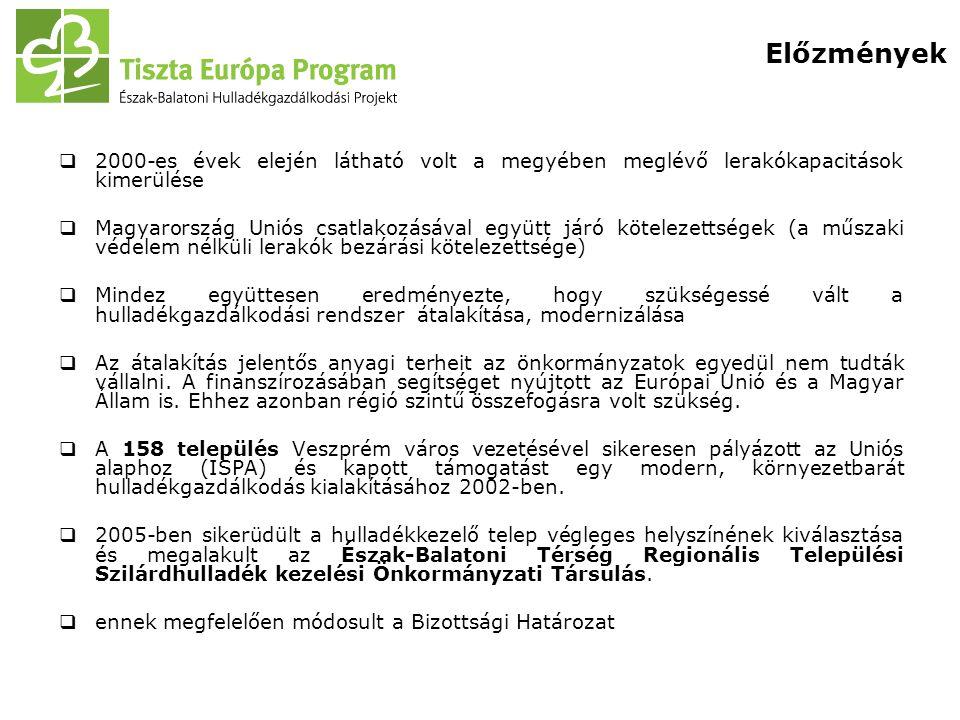  2000-es évek elején látható volt a megyében meglévő lerakókapacitások kimerülése  Magyarország Uniós csatlakozásával együtt járó kötelezettségek (a műszaki védelem nélküli lerakók bezárási kötelezettsége)  Mindez együttesen eredményezte, hogy szükségessé vált a hulladékgazdálkodási rendszer átalakítása, modernizálása  Az átalakítás jelentős anyagi terheit az önkormányzatok egyedül nem tudták vállalni.