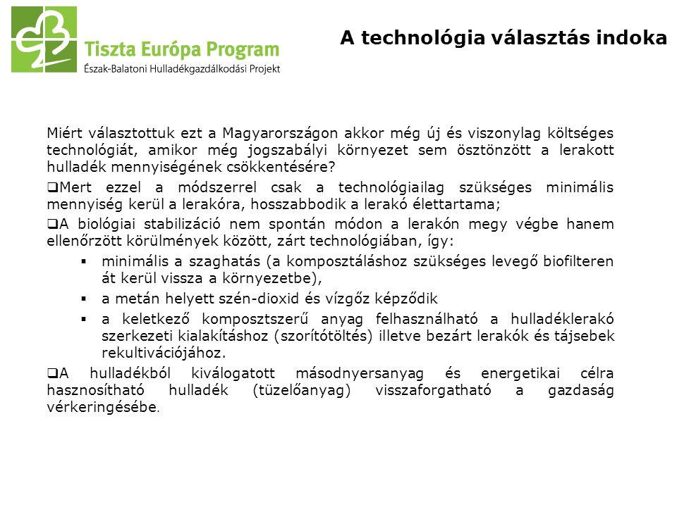 Miért választottuk ezt a Magyarországon akkor még új és viszonylag költséges technológiát, amikor még jogszabályi környezet sem ösztönzött a lerakott hulladék mennyiségének csökkentésére.