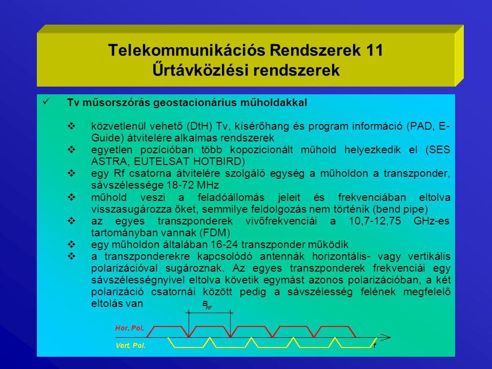 Tv műsorszórás geostacionárius műholdakkal  közvetlenül vehető (DtH) Tv, kísérőhang és program információ (PAD, E- Guide) átvitelére alkalmas rendsze