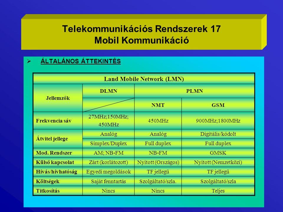  ÁLTALÁNOS ÁTTEKINTÉS Telekommunikációs Rendszerek 17 Mobil Kommunikáció Land Mobile Network (LMN) Jellemzők DLMNPLMN NMTGSM Frekvencia sáv 27MHz;150