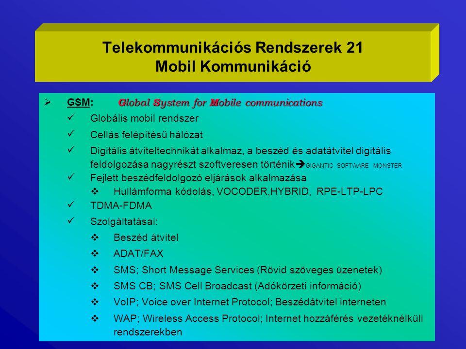 G lobal S ystem for M obile communications  GSM: G lobal S ystem for M obile communications Globális mobil rendszer Cellás felépítésű hálózat Digitál
