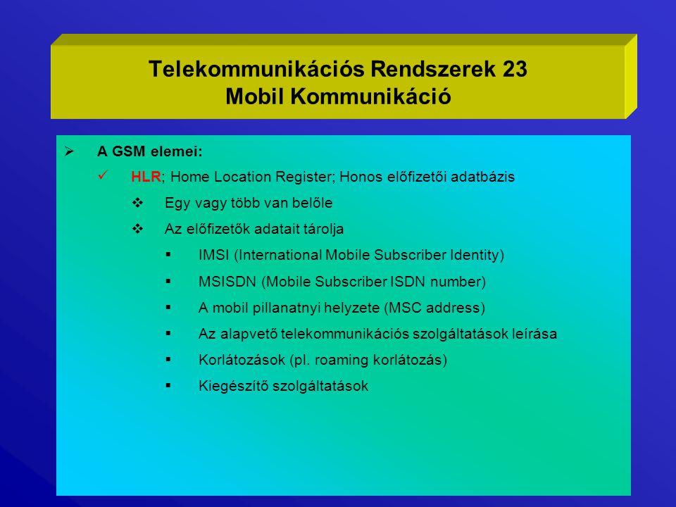  A GSM elemei: HLR; Home Location Register; Honos előfizetői adatbázis  Egy vagy több van belőle  Az előfizetők adatait tárolja  IMSI (Internation