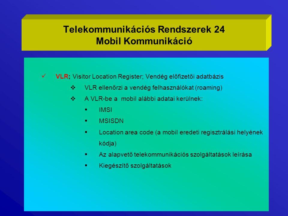 VLR; Visitor Location Register; Vendég előfizetői adatbázis  VLR ellenőrzi a vendég felhasználókat (roaming)  A VLR-be a mobil alábbi adatai kerülne