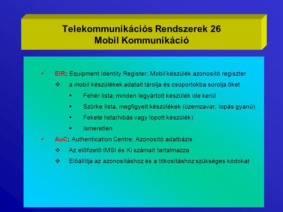 EIR; Equipment Identity Register; Mobil készülék azonosító regiszter  a mobil készülékek adatait tárolja és csoportokba sorolja őket  Fehér lista; m
