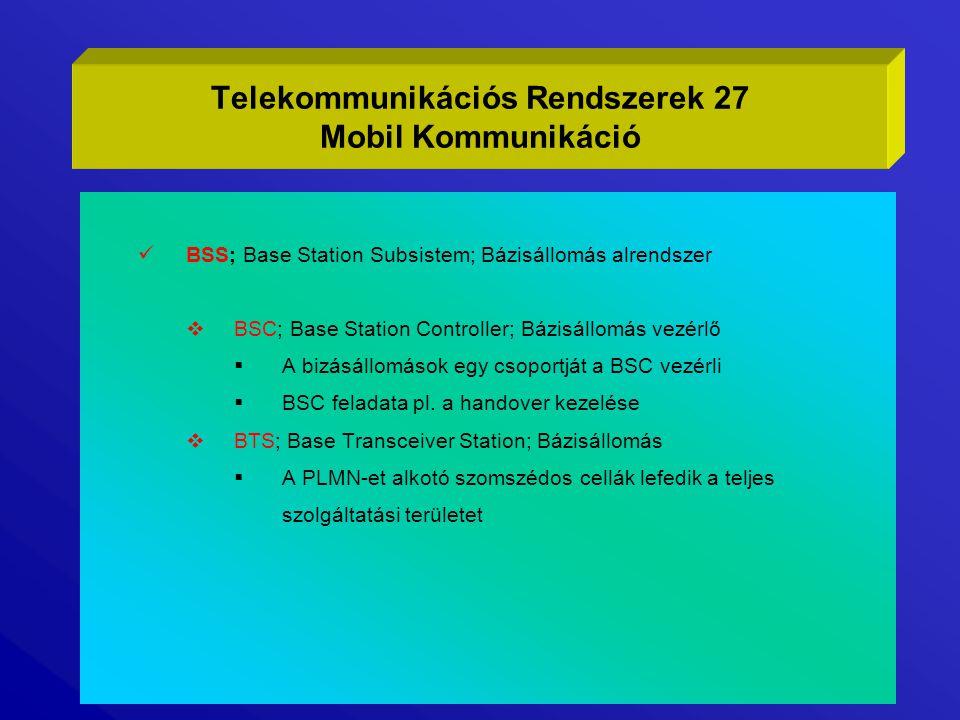 BSS; Base Station Subsistem; Bázisállomás alrendszer  BSC; Base Station Controller; Bázisállomás vezérlő  A bizásállomások egy csoportját a BSC vezé