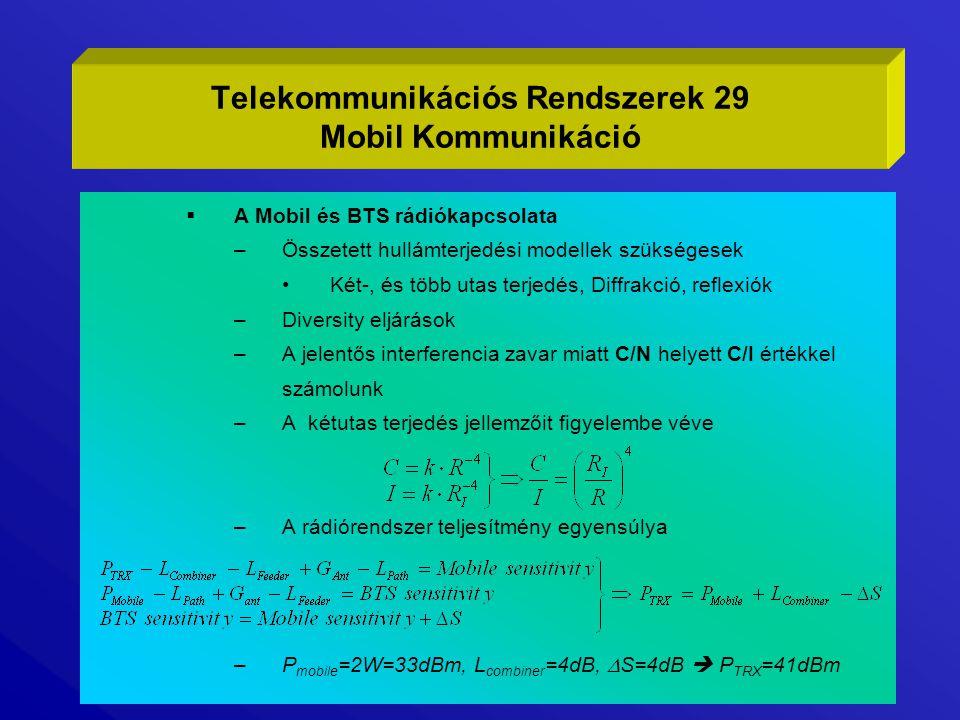  A Mobil és BTS rádiókapcsolata –Összetett hullámterjedési modellek szükségesek Két-, és több utas terjedés, Diffrakció, reflexiók –Diversity eljárás