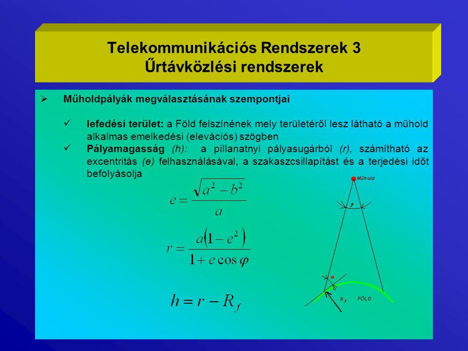  Általánosan használt pályatípusok Geostacionárius pálya, Geostationary Earth Orbit (GEO)  a műhold a földi megfigyelő pontból nézve állni látszik - keringési ideje megegyezik a Föld forgási idejével  fixen irányított antennákkal vehető  kör alakú egyenlítői pálya, magassága h=35784 Km  10° elevációs szög mellet a Föld felszínének közel 35%-át lefedi  a 81° szélességi foktól a sarkvidékek felé nem látható  a nagy pályamagasság miatt  nagy a jelkésleltetés (~260 ms Föld-műhold-Föld)  nagy szakaszcsillapítás (10 GHz-en ~204 dB)  nagy nyereségű antenna, nagy adóteljesítmény, kiszajú vevőegység szükséges Telekommunikációs Rendszerek 4 Űrtávközlési rendszerek
