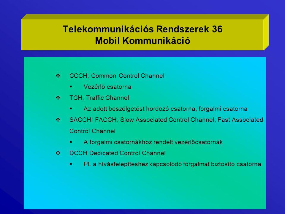  CCCH; Common Control Channel  Vezérlő csatorna  TCH; Traffic Channel  Az adott beszélgetést hordozó csatorna, forgalmi csatorna  SACCH; FACCH; S