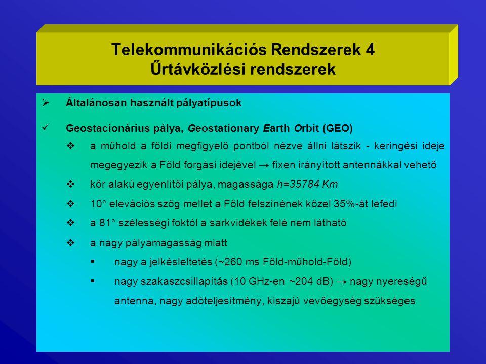 VSAT (Very Small Aperture Terminal)  üzleti kommunikációs hálózat geostacionárius műholdakkal, ISBN (Integrated Satellite Business Networks)  a VSAT rendszer fő elemei  a felhasználó központi számítógépe vagy hálózata (Host)  összekötettés (Backhaul) a Host és a Vsat szolgáltató központi műholdas beadóállomása (Hub) között (lehet földi vagy műholdas)  a VSAT szolgáltató központi rendszere (Hub)  VSAT állomás a felhasználó távoli telephelyén, csatlakozás a helyi számítógép-hálózathoz  vezérlő és felügyeleti rendszer  az egyes felhasználók időosztásban (TDMA) veszik igénybe a műhold és a Hub kapacitását  a Hub - Vsat irányban (outroute) az átviteli sebesség n×512 kbps  a Vsat-Hub irányban (inroute) az átviteli sebesség k×128 kbps  a Hub antennája egy 6-8m átmérőjű parabola, a teljes elektronika melegtartalékolt, a megbízhatósága >99,5%  egy Hub 64000 terminál kezelésére alkalmas  Vsat PES (Personal Earth Station) antennája 1,2-1,8m átmérőjű, adóteljesítménye 1-2W, telepítése egyszerű, ára nem túl magas Telekommunikációs Rendszerek 15 Űrtávközlési rendszerek