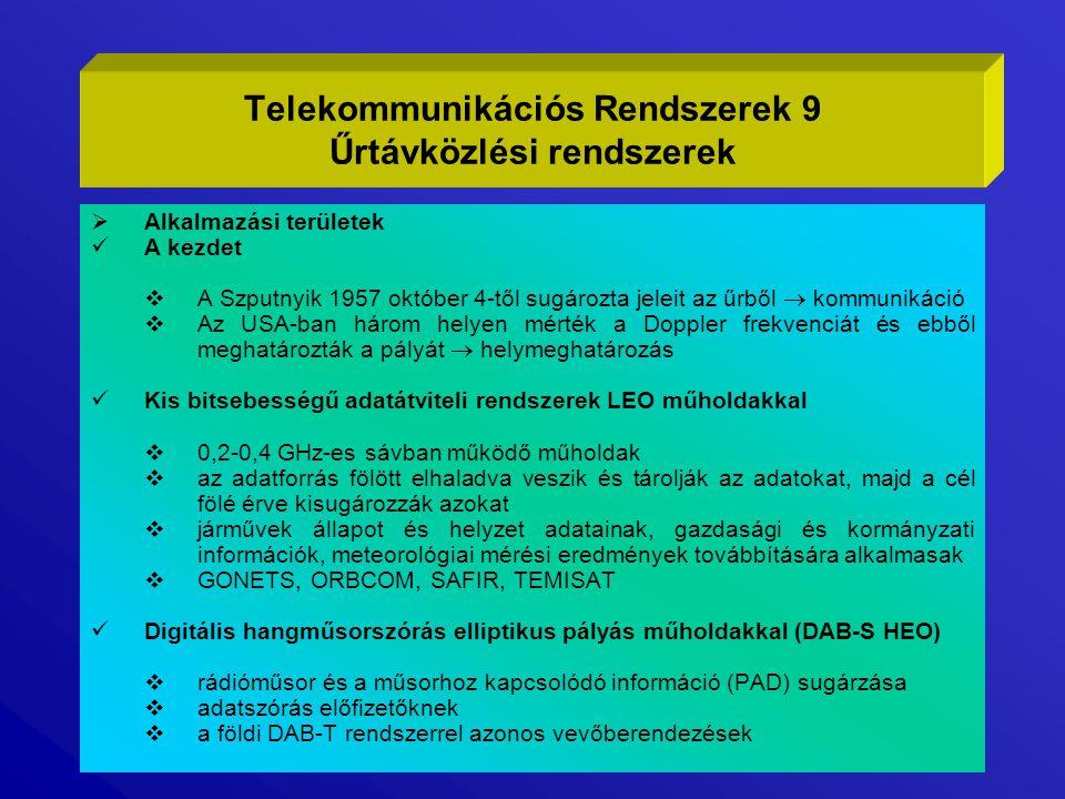 Személyi kommunikáció LEO műholdakkal (PCS)  az Iridium műholdas mobil- és telepített telefon szolgáltatás  66 db kb.