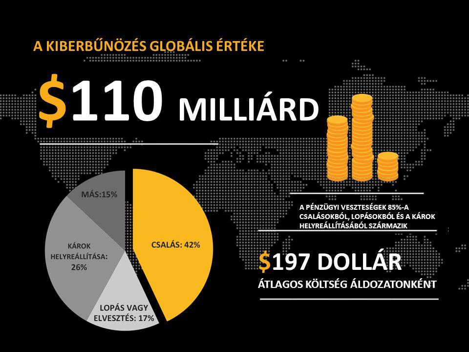 $110 MILLIÁRD A PÉNZÜGYI VESZTESÉGEK 85%-A CSALÁSOKBÓL, LOPÁSOKBÓL ÉS A KÁROK HELYREÁLLÍTÁSÁBÓL SZÁRMAZIK $197 DOLLÁR ÁTLAGOS KÖLTSÉG ÁLDOZATONKÉNT A KIBERBŰNÖZÉS GLOBÁLIS ÉRTÉKE