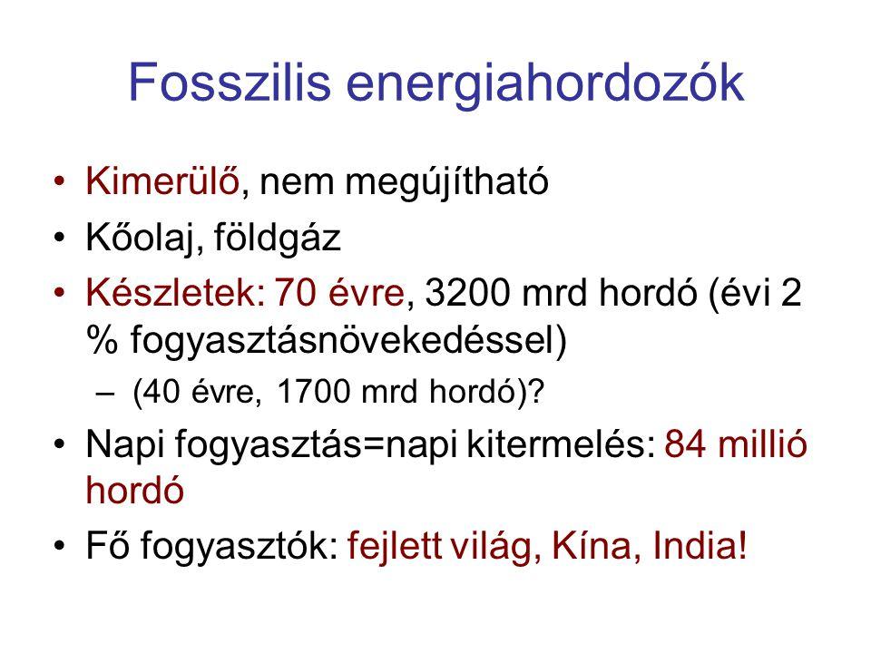 Fosszilis energiahordozók Kimerülő, nem megújítható Kőolaj, földgáz Készletek: 70 évre, 3200 mrd hordó (évi 2 % fogyasztásnövekedéssel) – (40 évre, 1700 mrd hordó).