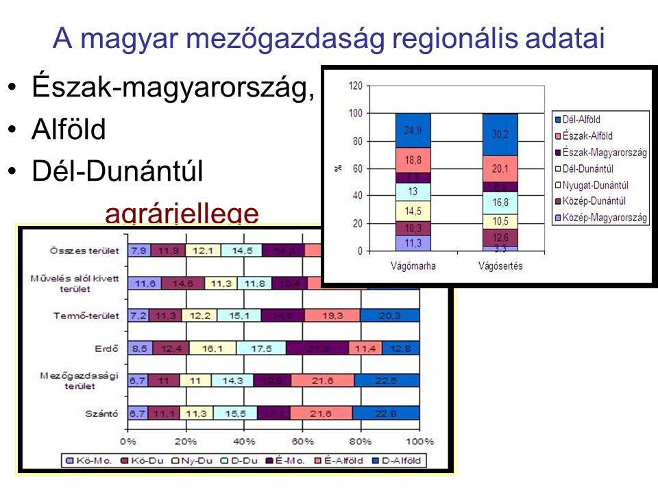 A magyar mezőgazdaság regionális adatai Észak-magyarország, Alföld Dél-Dunántúl agrárjellege