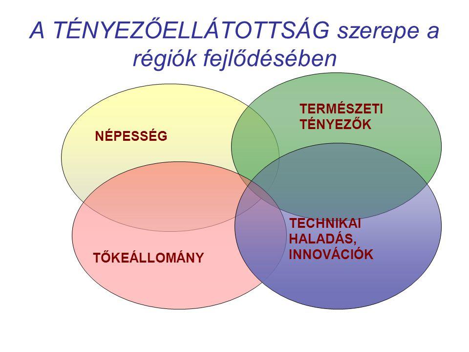 A TÉNYEZŐELLÁTOTTSÁG szerepe a régiók fejlődésében NÉPESSÉG TERMÉSZETI TÉNYEZŐK TŐKEÁLLOMÁNY TECHNIKAI HALADÁS, INNOVÁCIÓK
