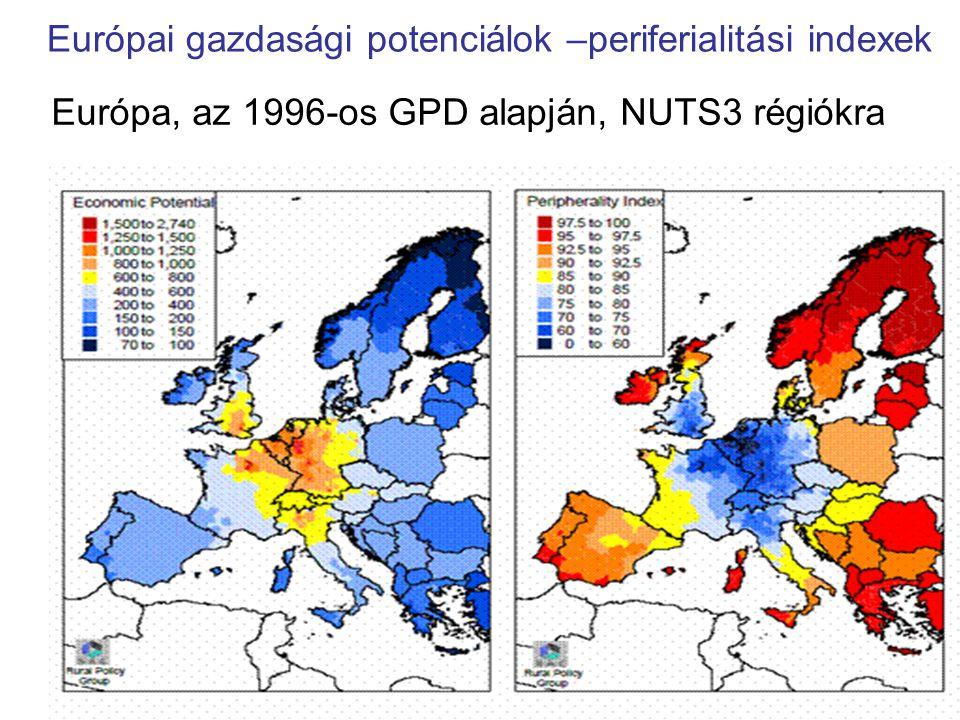 Európai gazdasági potenciálok –periferialitási indexek Európa, az 1996-os GPD alapján, NUTS3 régiókra