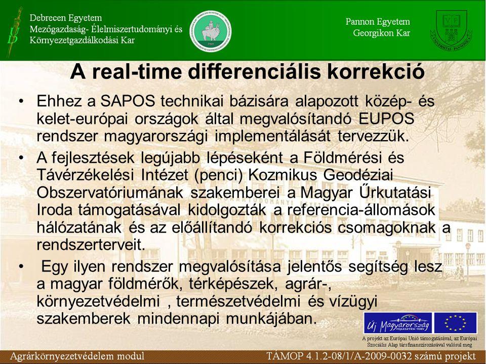 A real-time differenciális korrekció Ehhez a SAPOS technikai bázisára alapozott közép- és kelet-európai országok által megvalósítandó EUPOS rendszer magyarországi implementálását tervezzük.