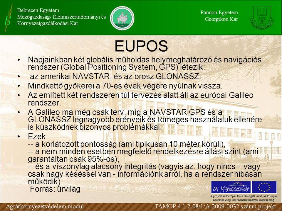 EUPOS Napjainkban két globális műholdas helymeghatározó és navigációs rendszer (Global Positioning System, GPS) létezik: az amerikai NAVSTAR, és az orosz GLONASSZ.