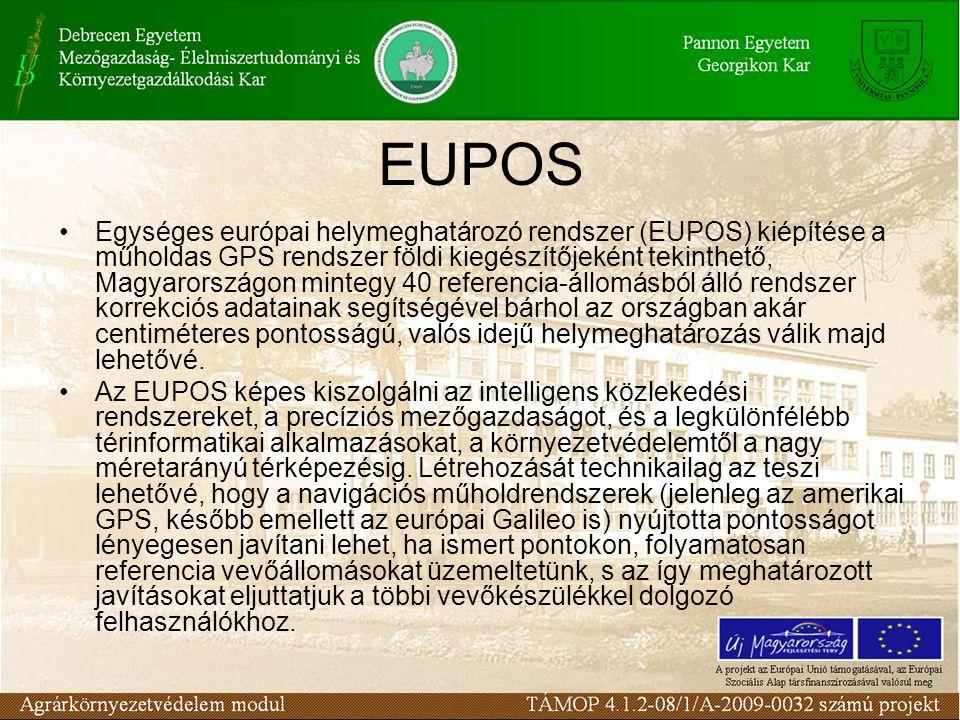 EUPOS Egységes európai helymeghatározó rendszer (EUPOS) kiépítése a műholdas GPS rendszer földi kiegészítőjeként tekinthető, Magyarországon mintegy 40 referencia-állomásból álló rendszer korrekciós adatainak segítségével bárhol az országban akár centiméteres pontosságú, valós idejű helymeghatározás válik majd lehetővé.