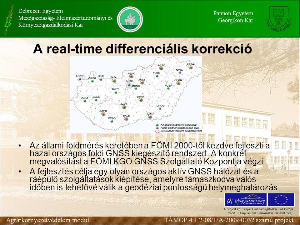 A real-time differenciális korrekció Az állami földmérés keretében a FÖMI 2000-től kezdve fejleszti a hazai országos földi GNSS kiegészítő rendszert.