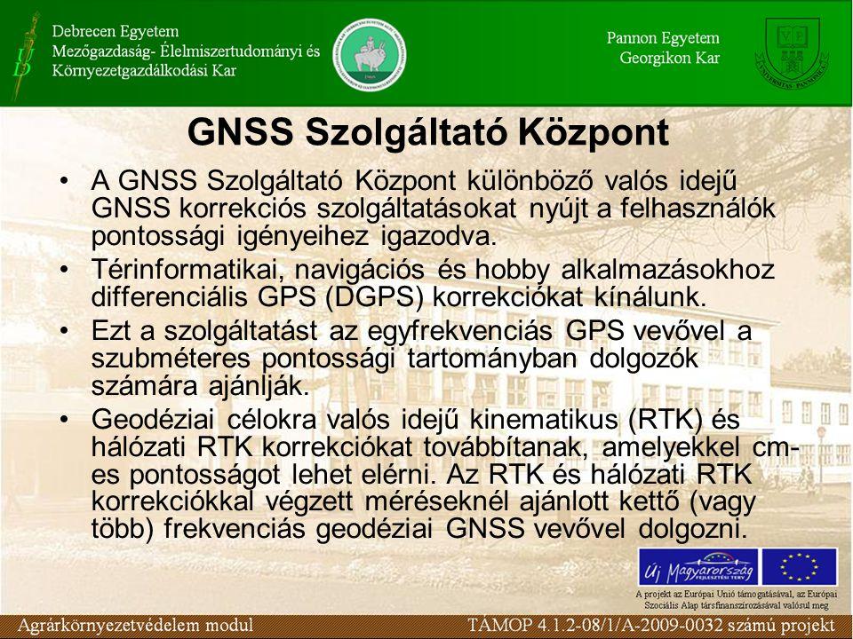 GNSS Szolgáltató Központ A GNSS Szolgáltató Központ különböző valós idejű GNSS korrekciós szolgáltatásokat nyújt a felhasználók pontossági igényeihez igazodva.