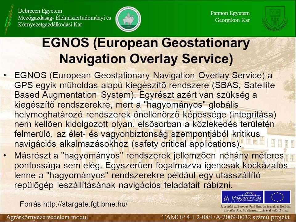 EGNOS (European Geostationary Navigation Overlay Service) EGNOS (European Geostationary Navigation Overlay Service) a GPS egyik mûholdas alapú kiegészítõ rendszere (SBAS, Satellite Based Augmentation System).