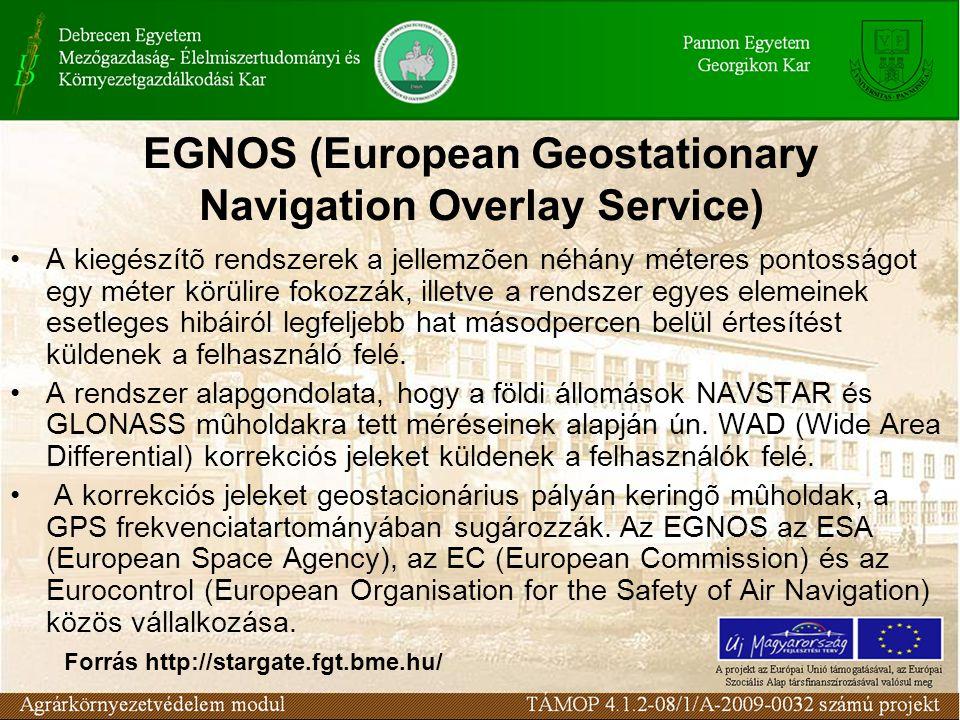 EGNOS (European Geostationary Navigation Overlay Service) A kiegészítõ rendszerek a jellemzõen néhány méteres pontosságot egy méter körülire fokozzák, illetve a rendszer egyes elemeinek esetleges hibáiról legfeljebb hat másodpercen belül értesítést küldenek a felhasználó felé.