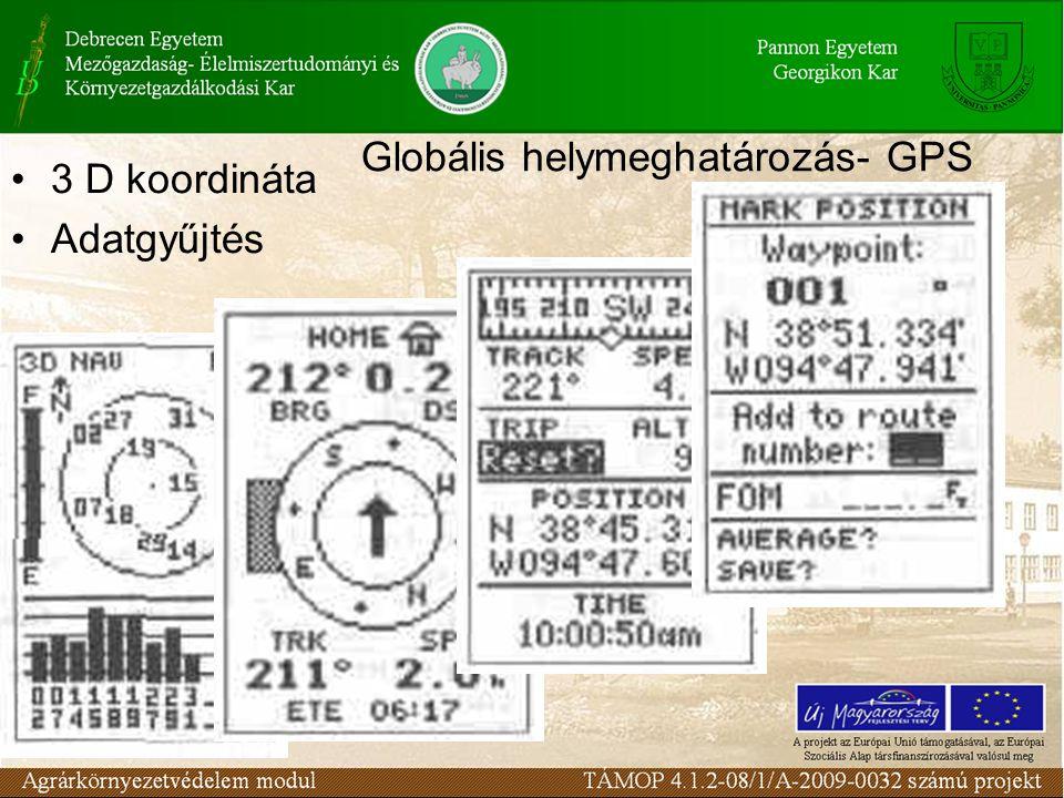 Globális helymeghatározás- GPS 3 D koordináta Adatgyűjtés