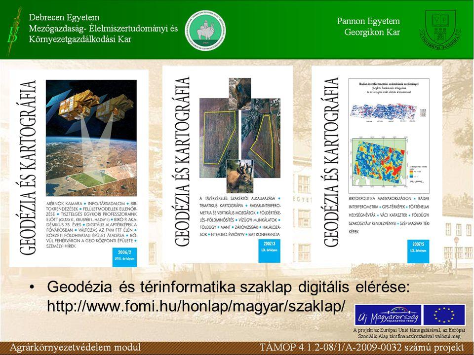 Geodézia és térinformatika szaklap digitális elérése: http://www.fomi.hu/honlap/magyar/szaklap/
