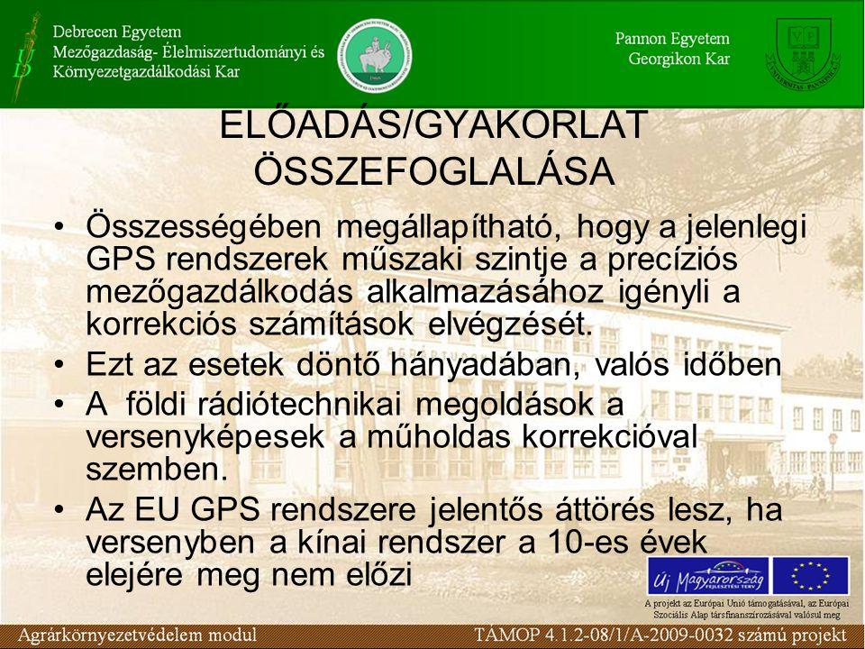 ELŐADÁS/GYAKORLAT ÖSSZEFOGLALÁSA Összességében megállapítható, hogy a jelenlegi GPS rendszerek műszaki szintje a precíziós mezőgazdálkodás alkalmazásához igényli a korrekciós számítások elvégzését.