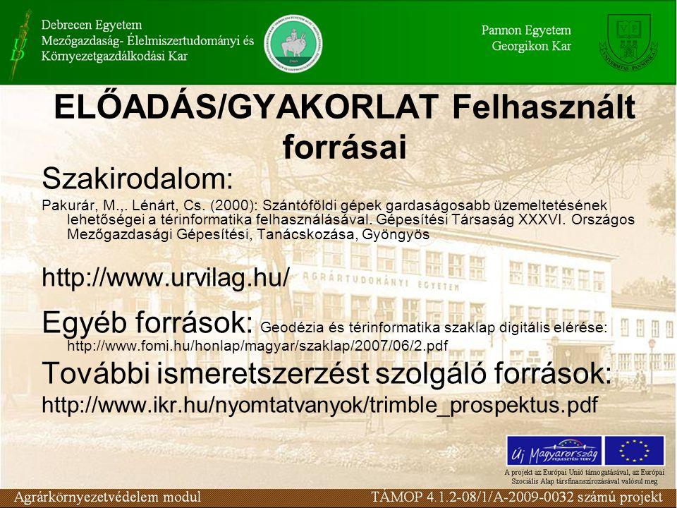 ELŐADÁS/GYAKORLAT Felhasznált forrásai Szakirodalom: Pakurár, M.,.