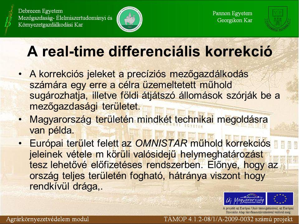 A real-time differenciális korrekció A korrekciós jeleket a precíziós mezőgazdálkodás számára egy erre a célra üzemeltetett műhold sugározhatja, illetve földi átjátszó állomások szórják be a mezőgazdasági területet.