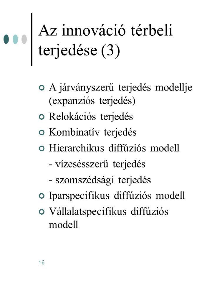 16 Az innováció térbeli terjedése (3) A járványszerű terjedés modellje (expanziós terjedés) Relokációs terjedés Kombinatív terjedés Hierarchikus diffú