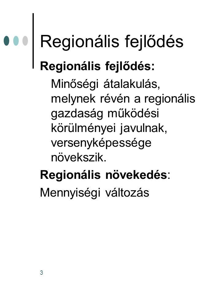 3 Regionális fejlődés Regionális fejlődés: Minőségi átalakulás, melynek révén a regionális gazdaság működési körülményei javulnak, versenyképessége nö