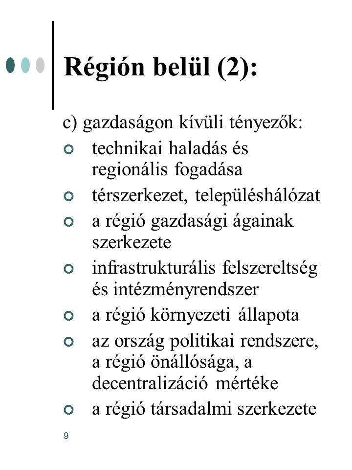 9 Régión belül (2): c) gazdaságon kívüli tényezők: technikai haladás és regionális fogadása térszerkezet, településhálózat a régió gazdasági ágainak s