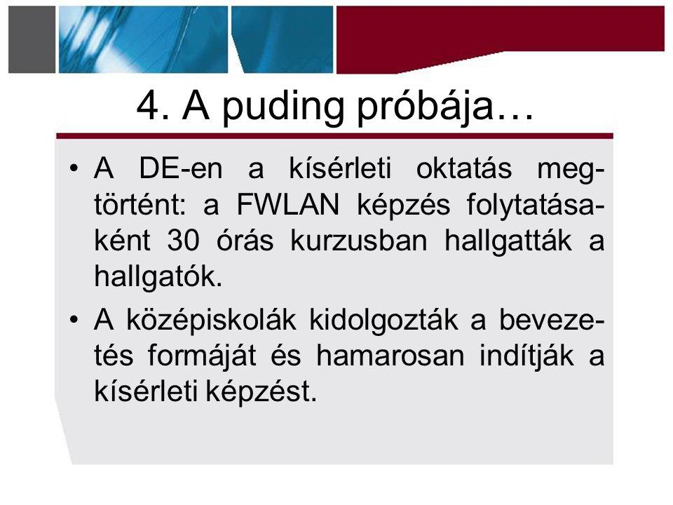 4. A puding próbája… A DE-en a kísérleti oktatás meg- történt: a FWLAN képzés folytatása- ként 30 órás kurzusban hallgatták a hallgatók. A középiskolá